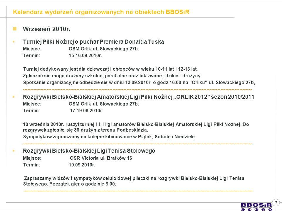 Wrzesień 2010r. Turniej Piłki Nożnej o puchar Premiera Donalda Tuska Miejsce: OSM Orlik ul.