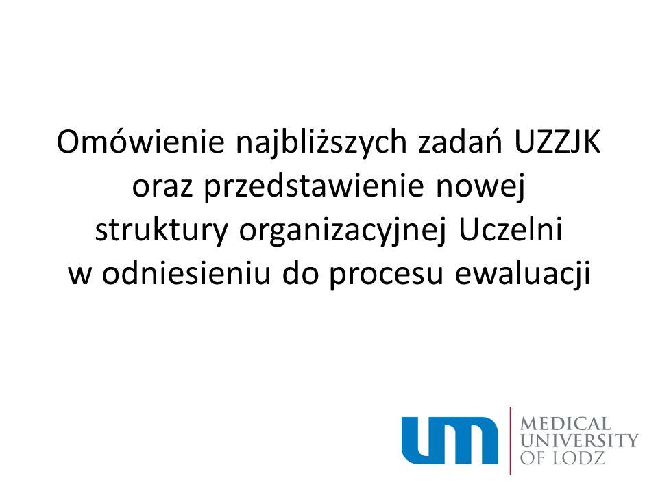 Omówienie najbliższych zadań UZZJK oraz przedstawienie nowej struktury organizacyjnej Uczelni w odniesieniu do procesu ewaluacji