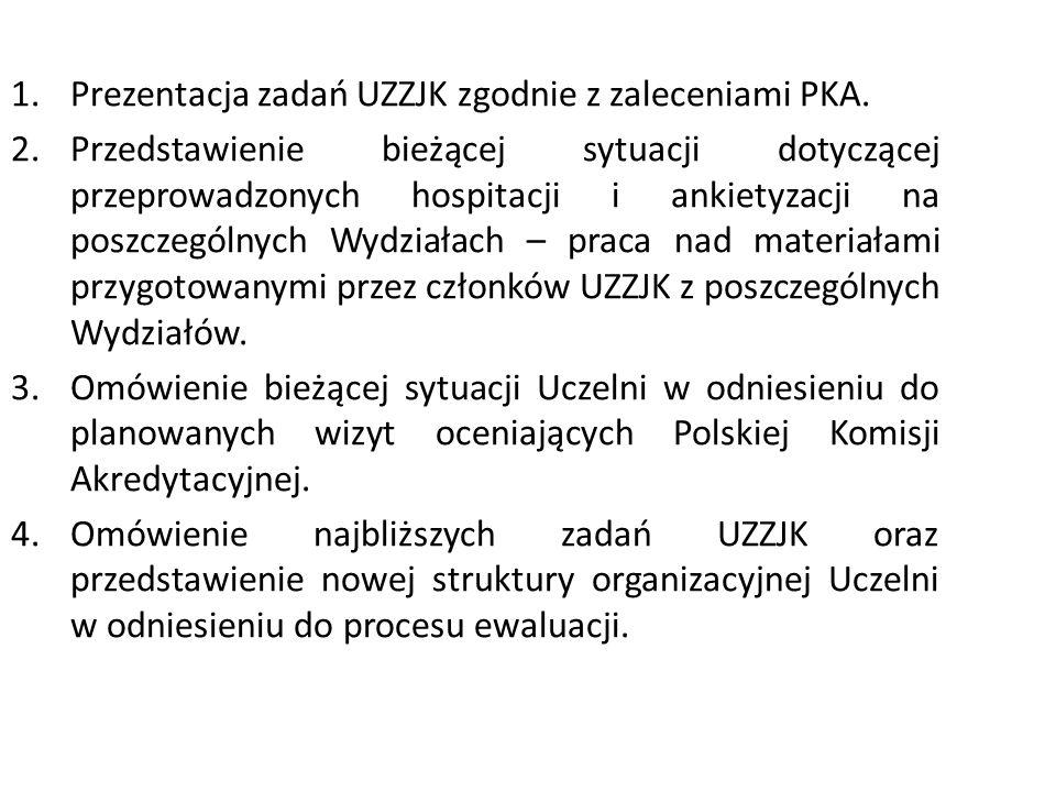 1.Prezentacja zadań UZZJK zgodnie z zaleceniami PKA.