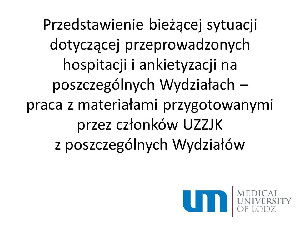 Przedstawienie bieżącej sytuacji dotyczącej przeprowadzonych hospitacji i ankietyzacji na poszczególnych Wydziałach – praca z materiałami przygotowanymi przez członków UZZJK z poszczególnych Wydziałów