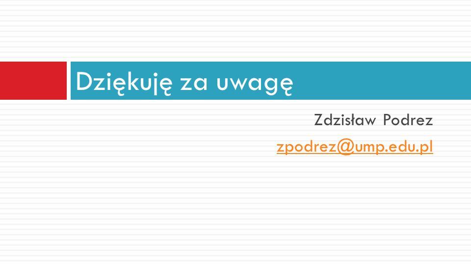 Zdzisław Podrez zpodrez@ump.edu.pl Dziękuję za uwagę