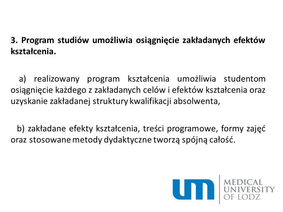 3. Program studiów umożliwia osiągnięcie zakładanych efektów kształcenia.