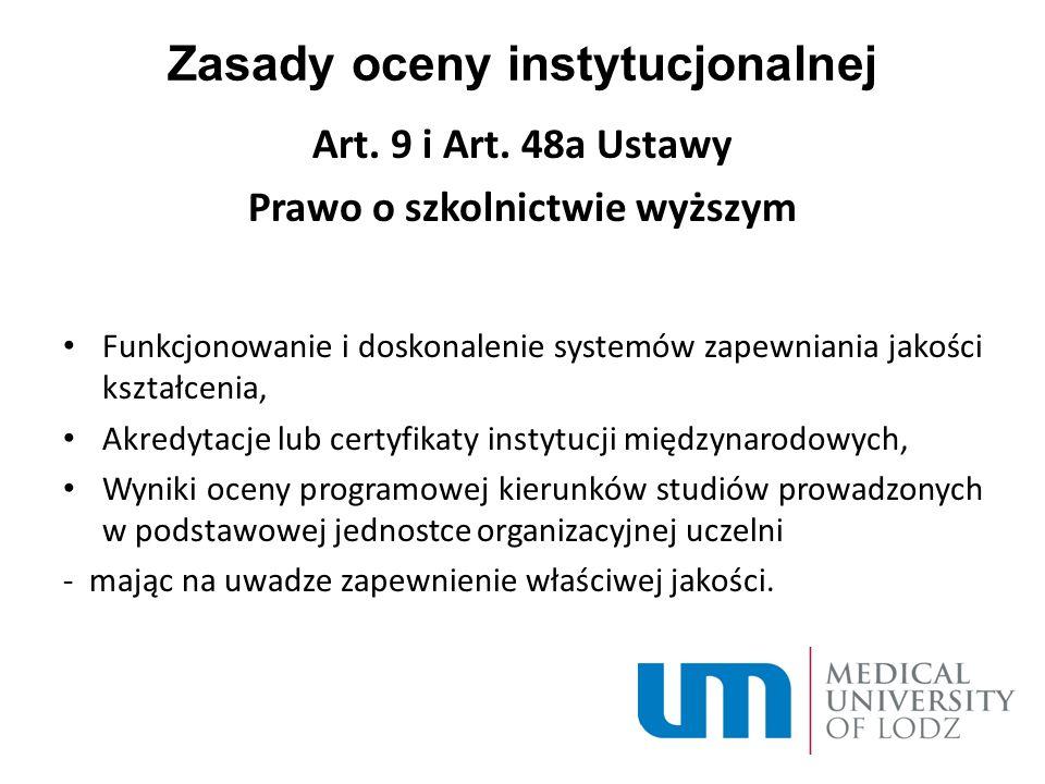Zasady oceny instytucjonalnej Art. 9 i Art.