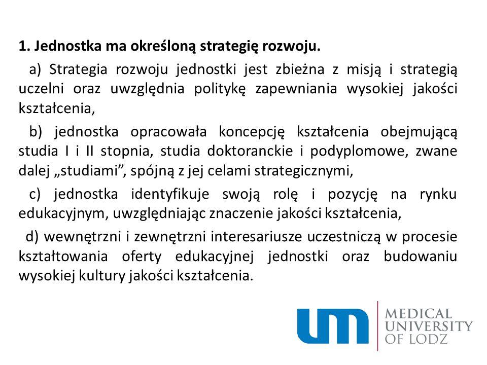1. Jednostka ma określoną strategię rozwoju.
