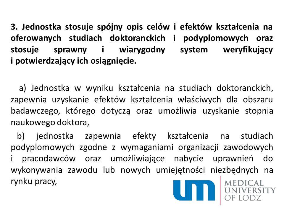 3. Jednostka stosuje spójny opis celów i efektów kształcenia na oferowanych studiach doktoranckich i podyplomowych oraz stosuje sprawny i wiarygodny s