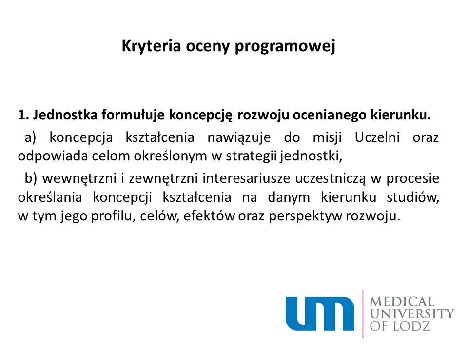 Kryteria oceny programowej 1. Jednostka formułuje koncepcję rozwoju ocenianego kierunku.
