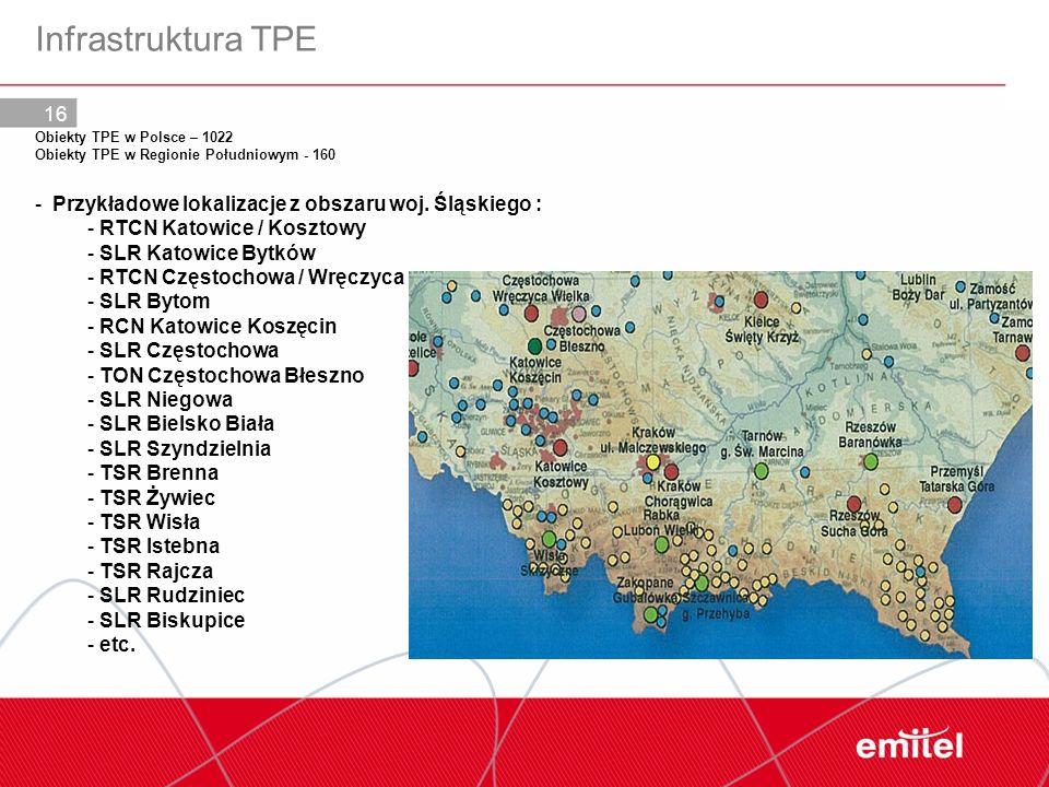 16 Obiekty TPE w Polsce – 1022 Obiekty TPE w Regionie Południowym - 160 - Przykładowe lokalizacje z obszaru woj. Śląskiego : - RTCN Katowice / Kosztow