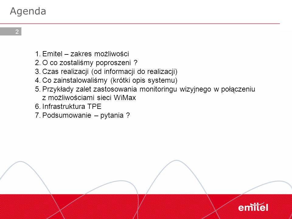 2 Agenda 1.Emitel – zakres możliwości 2.O co zostaliśmy poproszeni ? 3.Czas realizacji (od informacji do realizacji) 4.Co zainstalowaliśmy (krótki opi