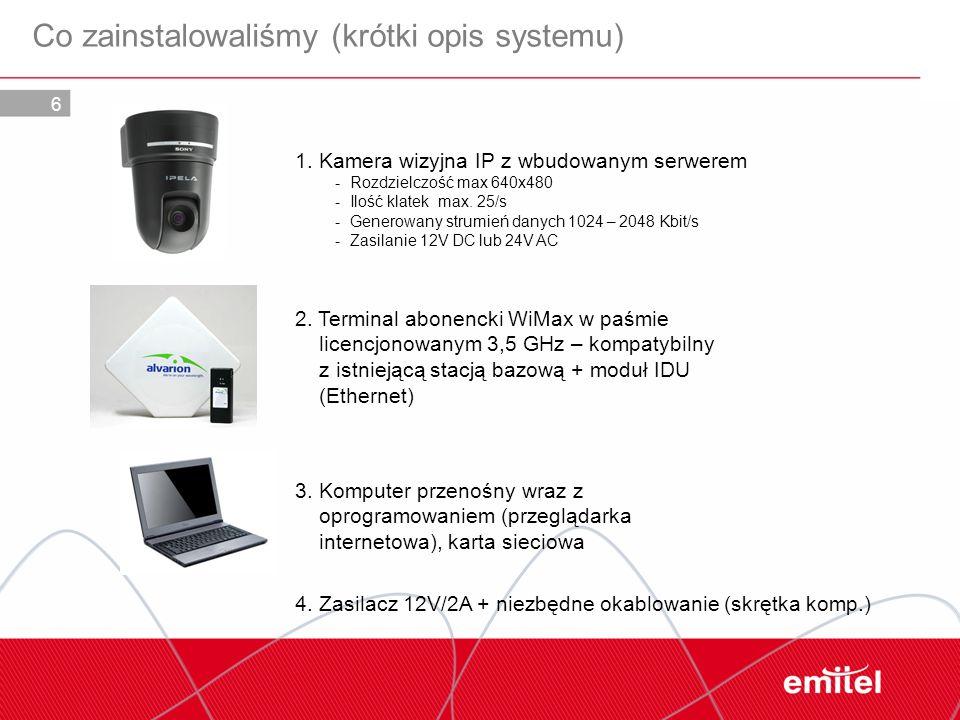 6 Co zainstalowaliśmy (krótki opis systemu) 1. Kamera wizyjna IP z wbudowanym serwerem - Rozdzielczość max 640x480 - Ilość klatek max. 25/s - Generowa
