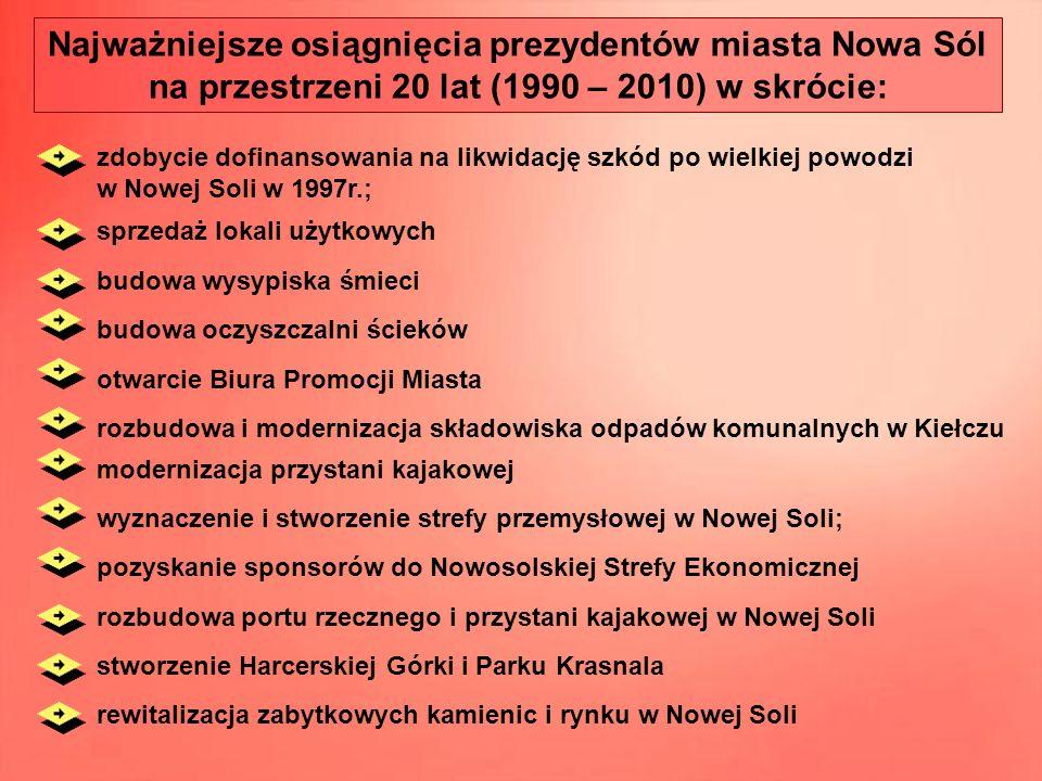 budowa oczyszczalni ścieków Najważniejsze osiągnięcia prezydentów miasta Nowa Sól na przestrzeni 20 lat (1990 – 2010) w skrócie: zdobycie dofinansowan