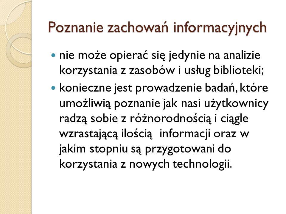 Poznanie zachowań informacyjnych nie może opierać się jedynie na analizie korzystania z zasobów i usług biblioteki; konieczne jest prowadzenie badań,