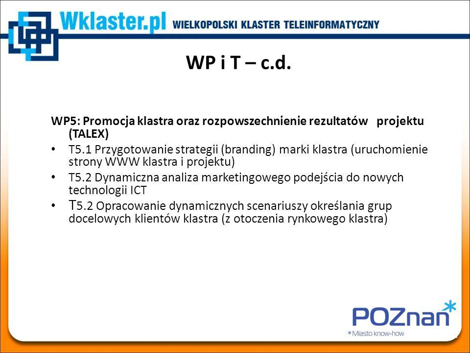 WP i T – c.d. WP5: Promocja klastra oraz rozpowszechnienie rezultatów projektu (TALEX) T5.1 Przygotowanie strategii (branding) marki klastra (uruchomi