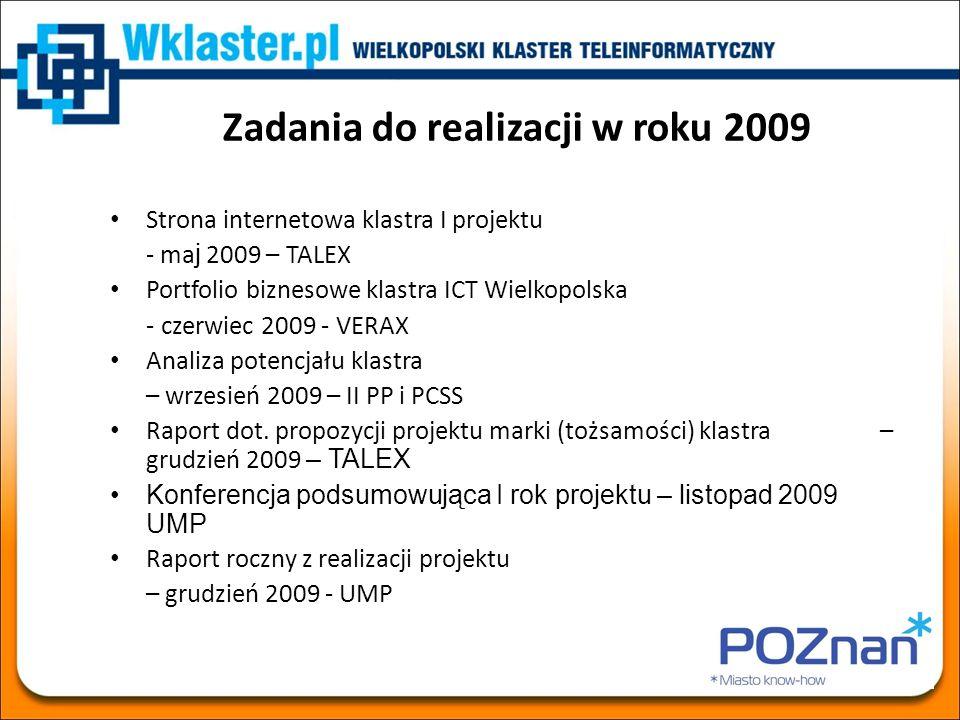 Zadania do realizacji w roku 2009 Strona internetowa klastra I projektu - ma j 2009 – TALEX Portfolio biznesowe klastra ICT Wielkopolska - czerwiec 20