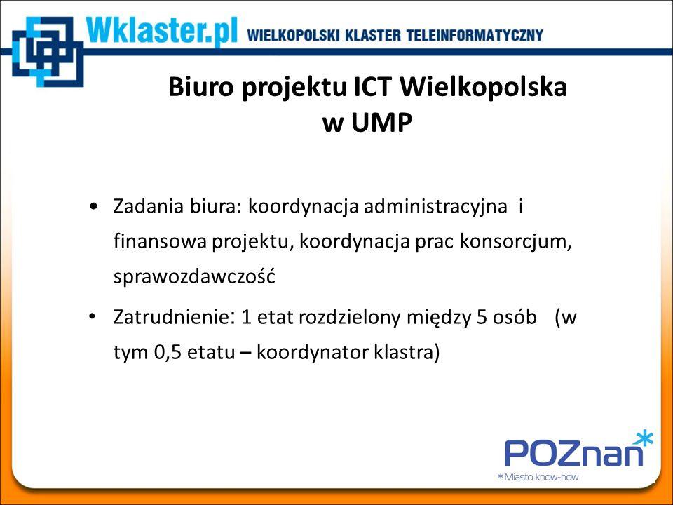 Biuro projektu ICT Wielkopolska w UMP Zadania biura: koordynacja administracyjna i finansowa projektu, koordynacja prac konsorcjum, sprawozdawczość Za