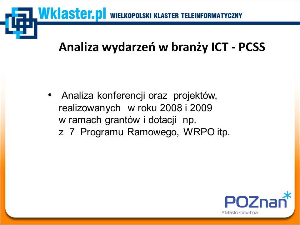 Analiza wydarzeń w branży ICT - PCSS Analiza konferencji oraz projektów, realizowanych w roku 2008 i 2009 w ramach grantów i dotacji np. z 7 Programu