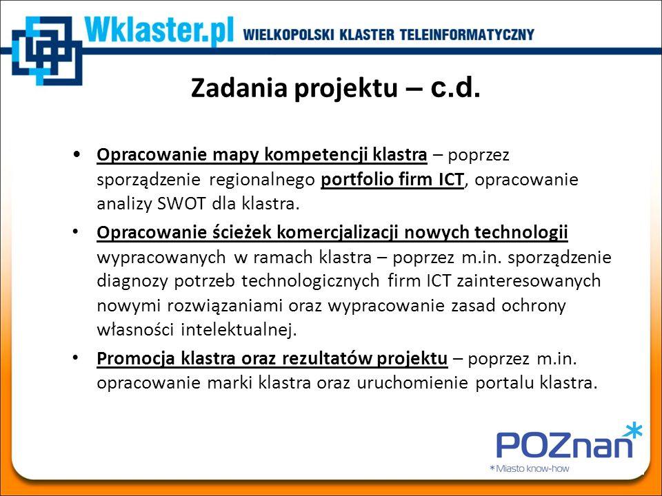 Zadania projektu – c.d. Opracowanie mapy kompetencji klastra – poprzez sporządzenie regionalnego portfolio firm ICT, opracowanie analizy SWOT dla klas