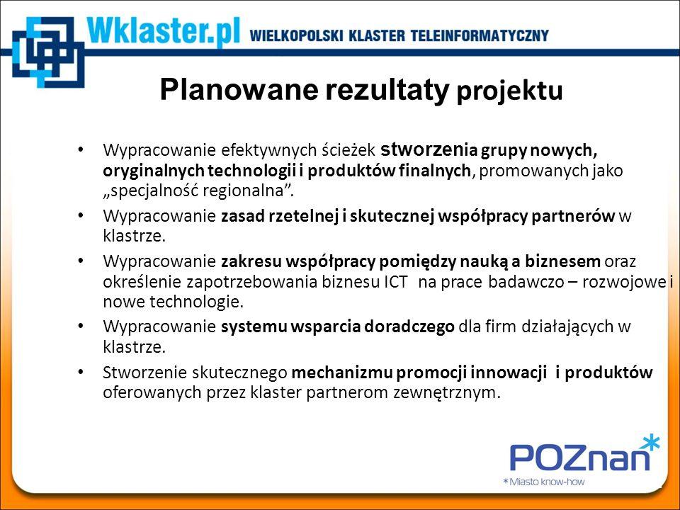 Pakiety robocze (WP) oraz zadania (T) projektu WP1: Zarządzanie projektem (UMP) T1.1 Koordynacja bieżącej pracy konsorcjum T1.2 Koordynacja finansowa i administracyjna projektu WP2: Diagnoza potencjału badawczego klastra (PUT+PSNC) T2.1 Opracowanie bazy danych rozwojowych projektów ICT T2.2 Opracowanie planu nowych projektów badawczo – rozwojowych ICT zgodnych z potrzebami biznesu T2.3 Opracowanie katalogu możliwych powiązań technologicznych pomiędzy nauką a sektorem przedsiębiorstw ICT T2.4 Opracowanie zaawansowanych programów edukacyjnych i szkoleniowych przeznaczonych dla obecnych i przyszłych pracowników sektora ICT