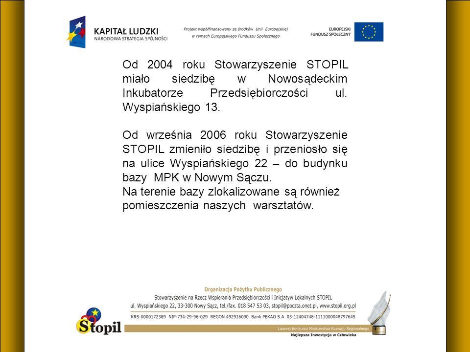 Od 2004 roku Stowarzyszenie STOPIL miało siedzibę w Nowosądeckim Inkubatorze Przedsiębiorczości ul. Wyspiańskiego 13. Od września 2006 roku Stowarzysz