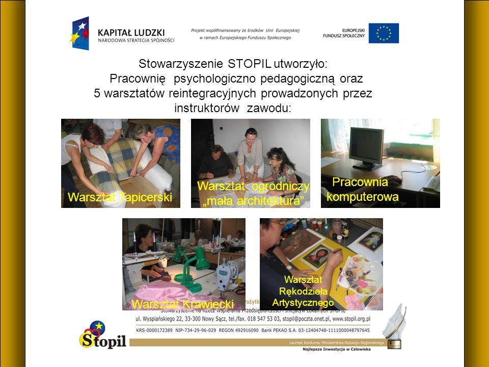 Stowarzyszenie STOPIL utworzyło: Pracownię psychologiczno pedagogiczną oraz 5 warsztatów reintegracyjnych prowadzonych przez instruktorów zawodu: Wars