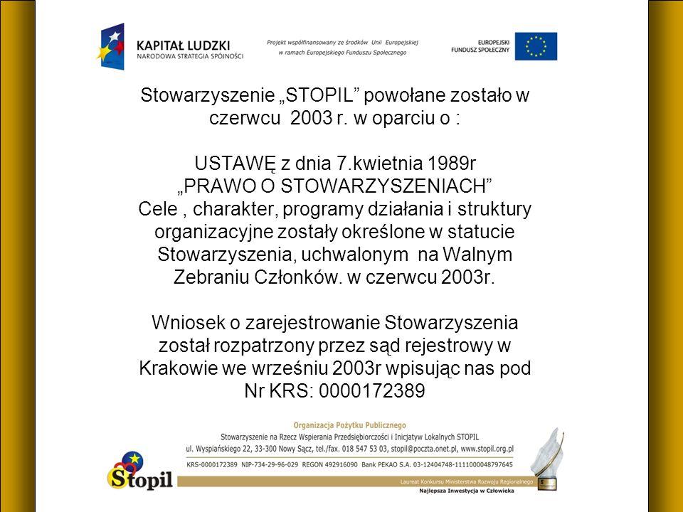 Stowarzyszenie STOPIL powołane zostało w czerwcu 2003 r.