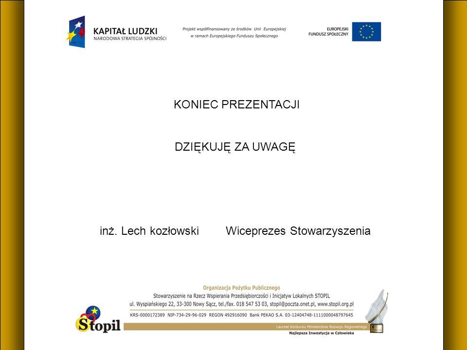 KONIEC PREZENTACJI DZIĘKUJĘ ZA UWAGĘ inż. Lech kozłowski Wiceprezes Stowarzyszenia