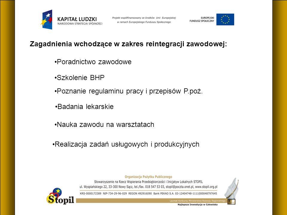Zagadnienia wchodzące w zakres reintegracji zawodowej: Poradnictwo zawodowe Poznanie regulaminu pracy i przepisów P.poż.