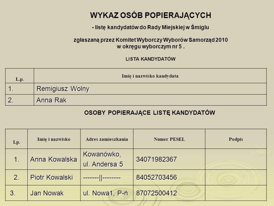 WYKAZ OSÓB POPIERAJĄCYCH - listę kandydatów do Rady Miejskiej w Śmiglu zgłaszaną przez Komitet Wyborczy Wyborów Samorząd 2010 w okręgu wyborczym nr 5.