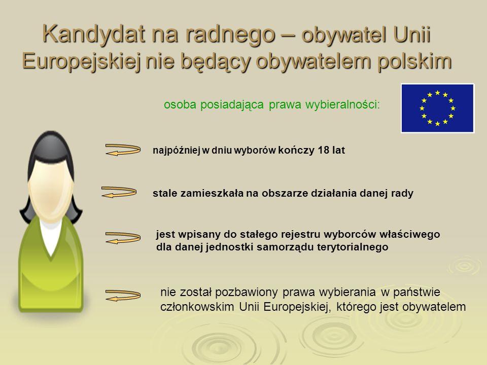 Kandydat na radnego – obywatel Unii Europejskiej nie będący obywatelem polskim osoba posiadająca prawa wybieralności: najpóźniej w dniu wyborów kończy