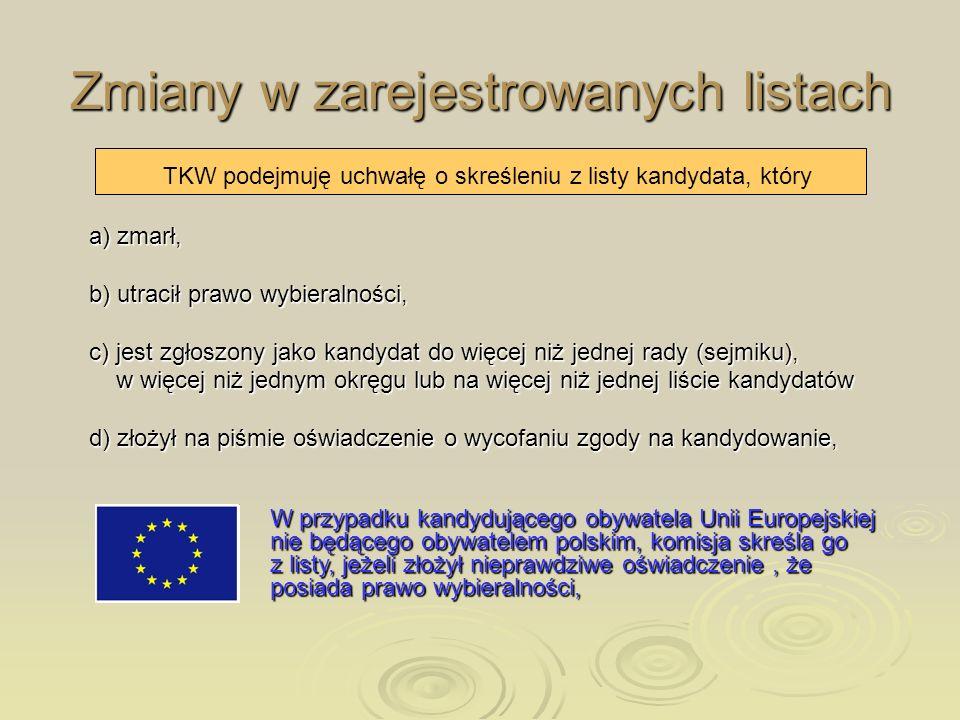 Zmiany w zarejestrowanych listach TKW podejmuję uchwałę o skreśleniu z listy kandydata, który a) zmarł, b) utracił prawo wybieralności, c) jest zgłosz