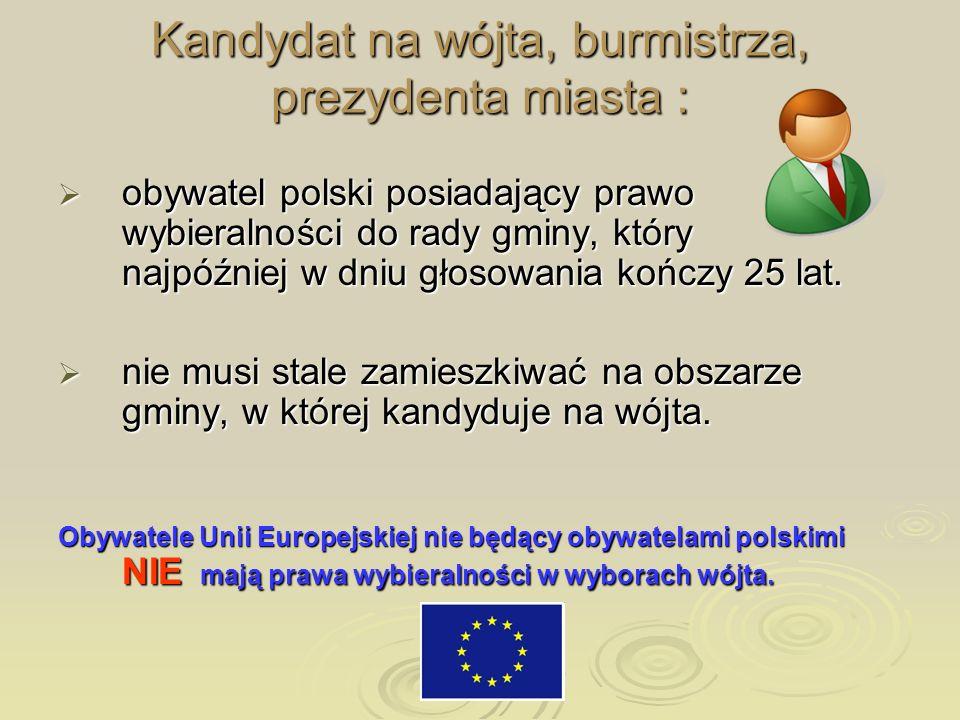 Kandydat na wójta, burmistrza, prezydenta miasta : obywatel polski posiadający prawo wybieralności do rady gminy, który najpóźniej w dniu głosowania k