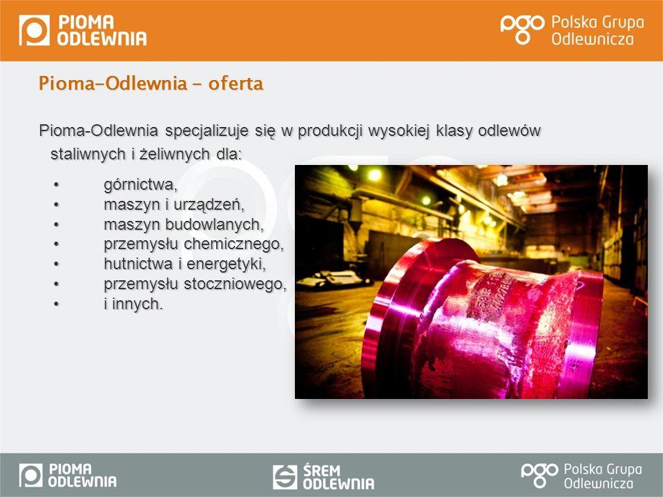 Pioma-Odlewnia specjalizuje się w produkcji wysokiej klasy odlewów staliwnych i żeliwnych dla: górnictwa,górnictwa, maszyn i urządzeń,maszyn i urządze