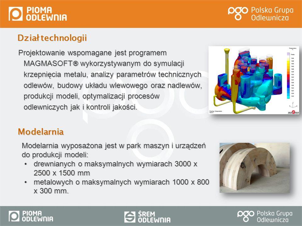 Projektowanie wspomagane jest programem MAGMASOFT ® wykorzystywanym do symulacji krzepnięcia metalu, analizy parametrów technicznych odlewów, budowy u