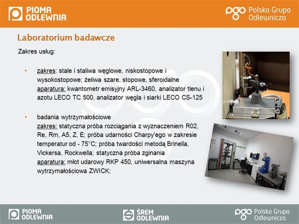 Zakres usług: zakres: stale i staliwa węglowe, niskostopowe i wysokostopowe; żeliwa szare, stopowe, sferoidalne aparatura: kwantometr emisyjny ARL-346