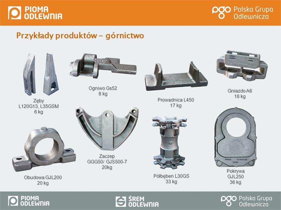 Przykłady produktów - górnictwo PokrywaGJL250 36 kg Zęby L120G13, L35GSM 6 kg Półbęben L30GS 33 kg Prowadnica L450 17 kg Gniazdo A6 18 kg Obudowa GJL2