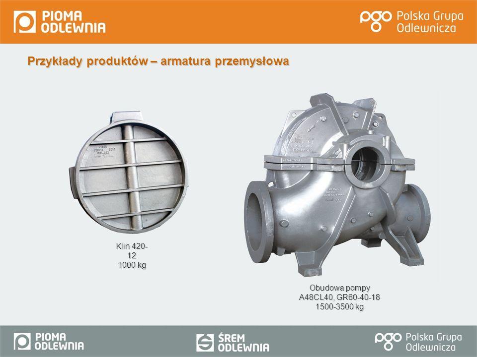 Przykłady produktów – armatura przemysłowa Klin 420- 12 1000 kg Obudowa pompy A48CL40, GR60-40-18 1500-3500 kg