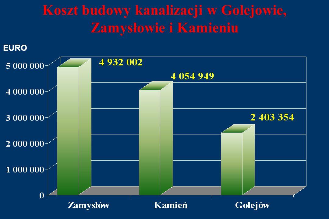 Koszt budowy kanalizacji w Golejowie, Zamysłowie i Kamieniu EURO