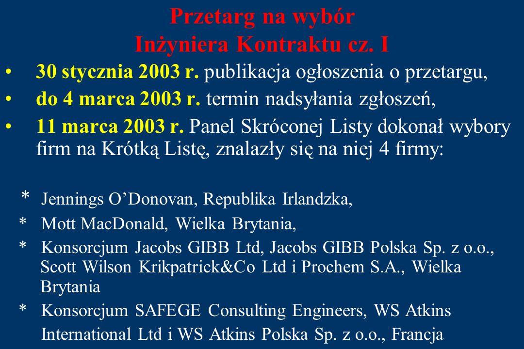 Przetarg na wybór Inżyniera Kontraktu cz.I 30 stycznia 2003 r.