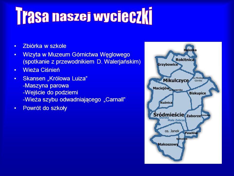 Zbiórka w szkole Wizyta w Muzeum Górnictwa Węglowego (spotkanie z przewodnikiem D. Walerjańskim) Wieża Ciśnień Skansen Królowa Luiza -Maszyna parowa -