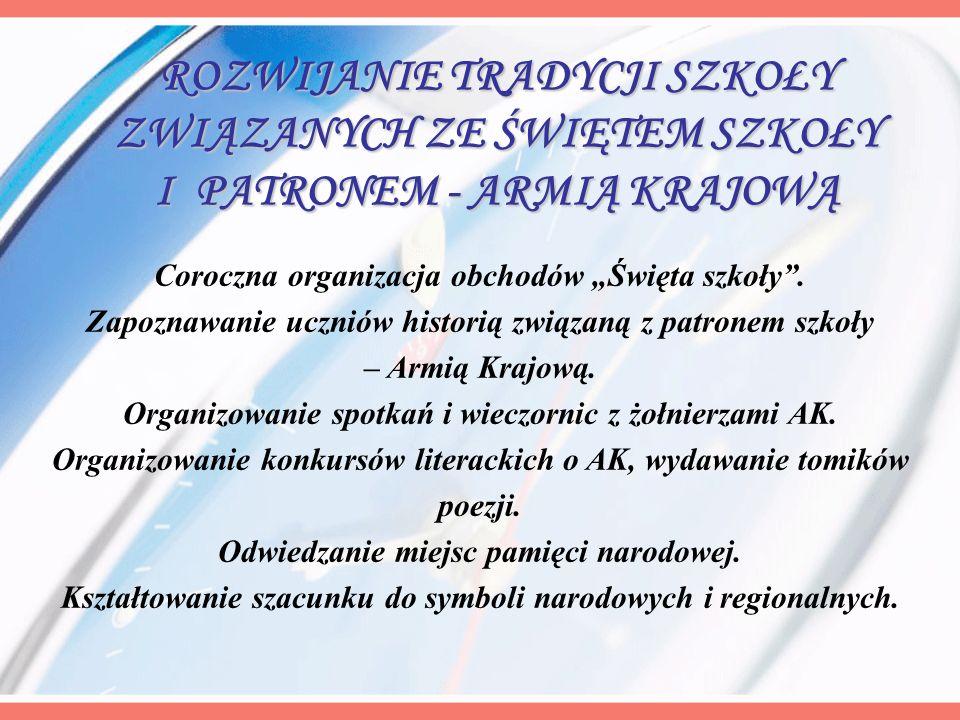 Coroczna organizacja obchodów Święta szkoły. Zapoznawanie uczniów historią związaną z patronem szkoły – Armią Krajową. Organizowanie spotkań i wieczor