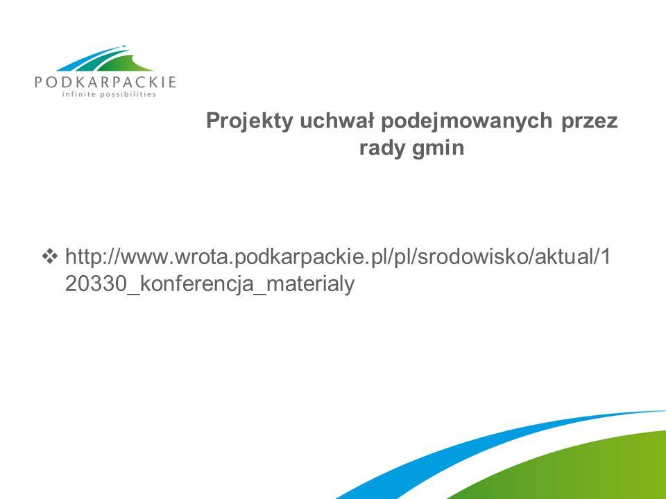 Projekty uchwał podejmowanych przez rady gmin http://www.wrota.podkarpackie.pl/pl/srodowisko/aktual/1 20330_konferencja_materialy