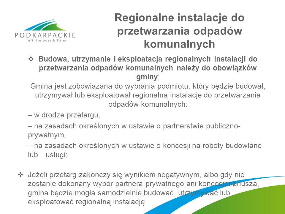 Regionalne instalacje do przetwarzania odpadów komunalnych Budowa, utrzymanie i eksploatacja regionalnych instalacji do przetwarzania odpadów komunaln