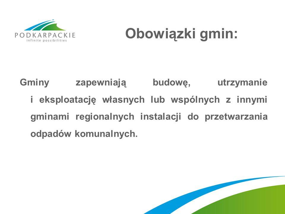 Obowiązki gmin: Gminy zapewniają budowę, utrzymanie i eksploatację własnych lub wspólnych z innymi gminami regionalnych instalacji do przetwarzania od