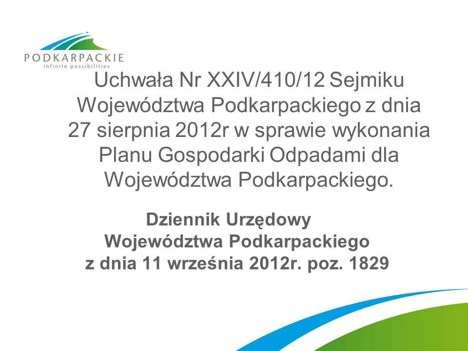Uchwała Nr XXIV/410/12 Sejmiku Województwa Podkarpackiego z dnia 27 sierpnia 2012r w sprawie wykonania Planu Gospodarki Odpadami dla Województwa Podka