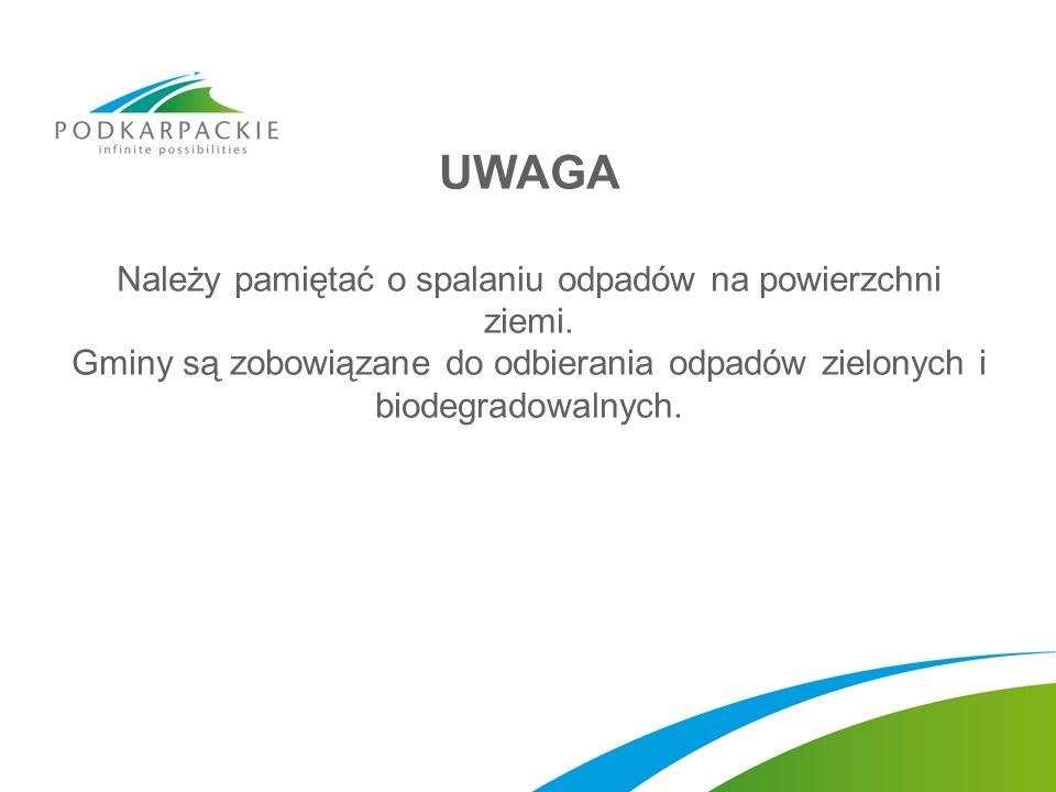 UWAGA Należy pamiętać o spalaniu odpadów na powierzchni ziemi. Gminy są zobowiązane do odbierania odpadów zielonych i biodegradowalnych.
