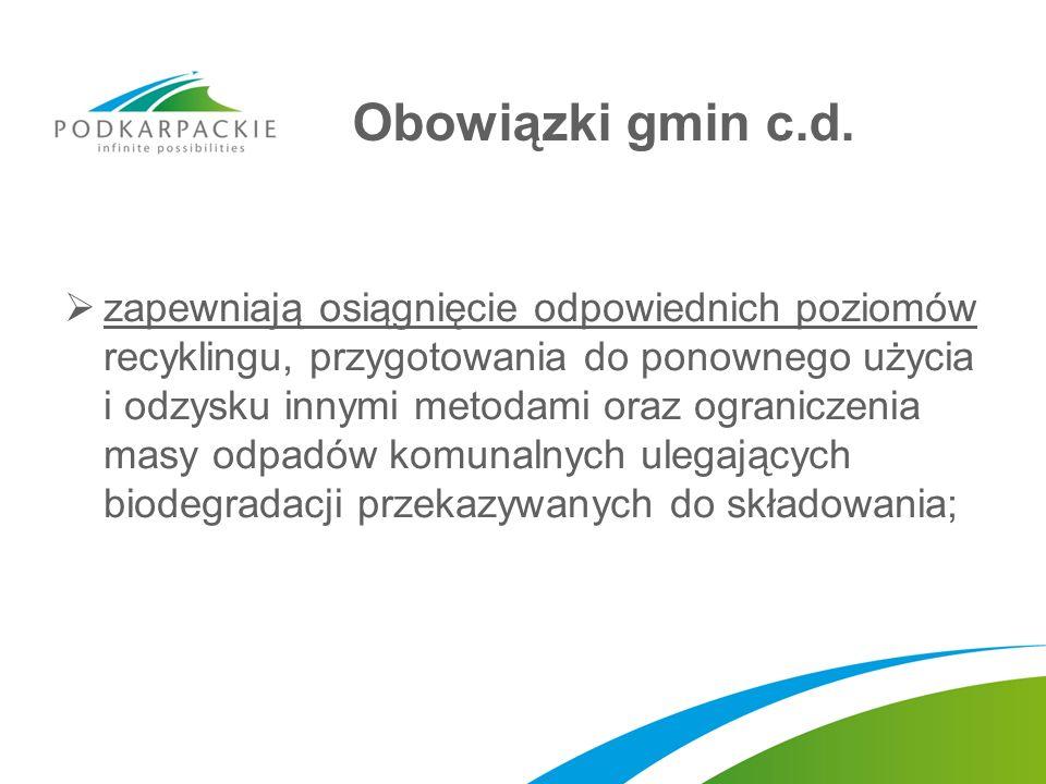 Obowiązki gmin c.d. zapewniają osiągnięcie odpowiednich poziomów recyklingu, przygotowania do ponownego użycia i odzysku innymi metodami oraz ogranicz