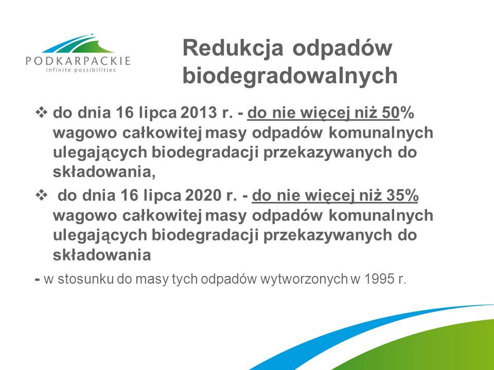Redukcja odpadów biodegradowalnych do dnia 16 lipca 2013 r. - do nie więcej niż 50% wagowo całkowitej masy odpadów komunalnych ulegających biodegradac
