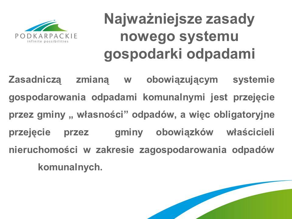 Regionalne instalacje do przetwarzania odpadów komunalnych Budowa, utrzymanie i eksploatacja regionalnych instalacji do przetwarzania odpadów komunalnych należy do obowiązków gminy; Gmina jest zobowiązana do wybrania podmiotu, który będzie budował, utrzymywał lub eksploatował regionalną instalację do przetwarzania odpadów komunalnych: – w drodze przetargu, – na zasadach określonych w ustawie o partnerstwie publiczno- prywatnym, – na zasadach określonych w ustawie o koncesji na roboty budowlane lub usługi; Jeżeli przetarg zakończy się wynikiem negatywnym, albo gdy nie zostanie dokonany wybór partnera prywatnego ani koncesjonariusza, gmina będzie mogła samodzielnie budować, utrzymywać lub eksploatować regionalną instalację.