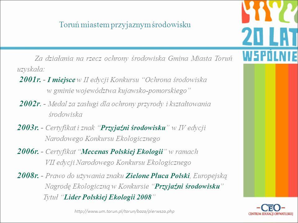 Działania Samorządu Gminy uczyniły Toruń miastem: przyjaznym środowisku bez barier kultury i sportu europejskim Działania Samorządu Gminy http://www.um.torun.pl/torun/baza/pierwsza.php