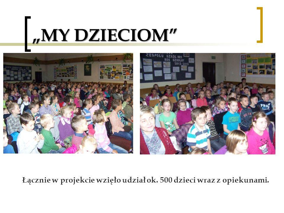 MY DZIECIOM Łącznie w projekcie wzięło udział ok. 500 dzieci wraz z opiekunami.