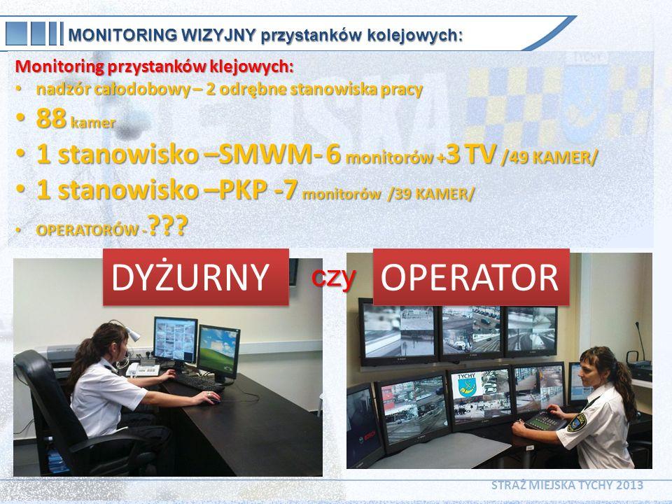MONITORING WIZYJNY przystanków kolejowych: Monitoring przystanków klejowych: nadzór całodobowy – 2 odrębne stanowiska pracy nadzór całodobowy – 2 odrę
